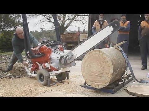 Taglia un tronco in 2,4 secondi questa motosega V8